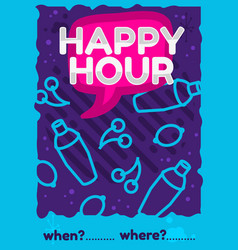 happy hour poster flyer design pink sky blue vector image