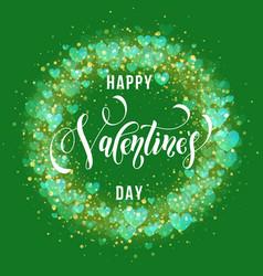happy valentine day golden hearts pattern vector image