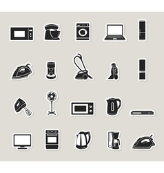 Home appliances and electronics icons set vector