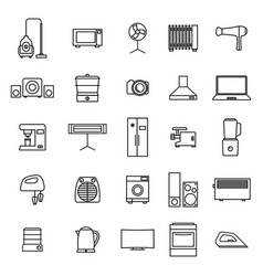 Home appliances icons from thin lines vector