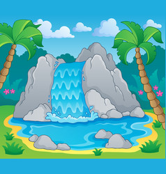 Image with waterfall theme 2 vector