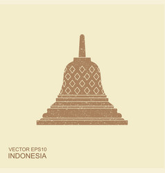 Indonesian borobudur ancient temple flat vector