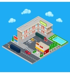Isometric Motel with Parking Zone and Bar vector