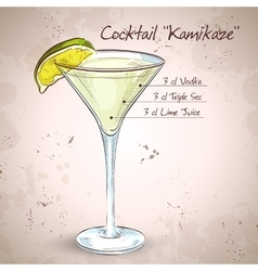 Kamikaze alcohol cocktail vector image