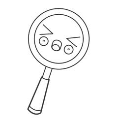 kawaii magnifying glass icon vector image