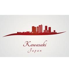 Kawasaki skyline in red vector