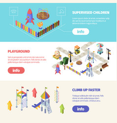 kids attractions playgrounds isometric horizontal vector image