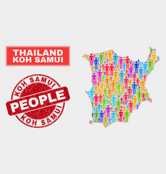 Koh samui map population people and unclean stamp vector