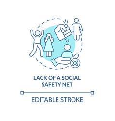 Lack social safety net blue concept icon vector