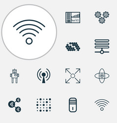 learning icons set with processor conditional vector image