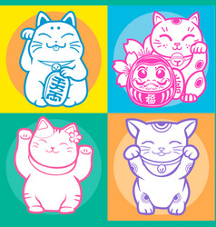 lucky cat maneki neko japan vector image