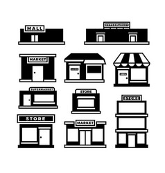 Mall and shop building icons shopping and retail vector