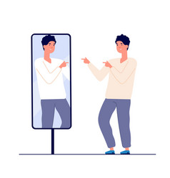 man at mirror guy self looking reflection love vector image