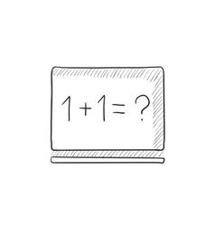 Maths example written on blackboard sketch icon vector