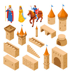 Medieval royal castle isometric set vector