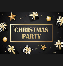 merry christmas and party on dark background with vector image