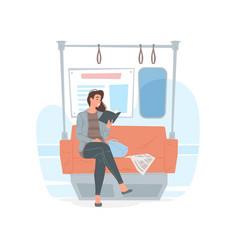 modern woman reading book in underground train vector image