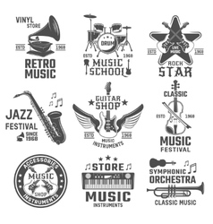 Music Black White Emblems vector