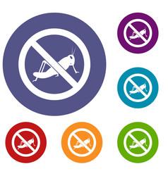 no locust sign icons set vector image