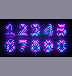 Number symbols collection neon sign design vector