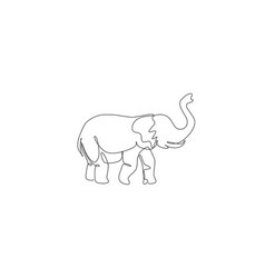 One single line drawing big african elephant vector