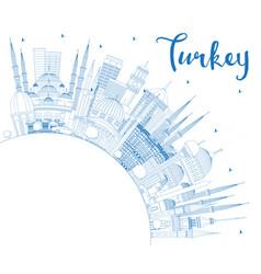 Outline turkey city skyline with blue buildings vector