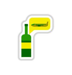 Paper sticker on white background wine plane vector