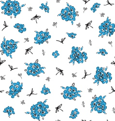 pattern with blue flowers vector image