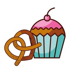 pretzel and cupcake food dessert bakery vector image
