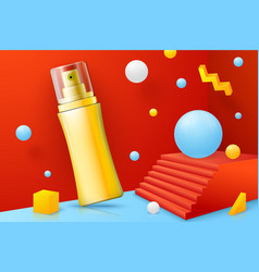 Realistic abstract scene with spray bottle vector