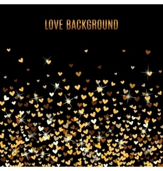 Romantic golden heart background vector image