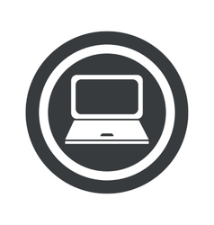 Round black laptop sign vector