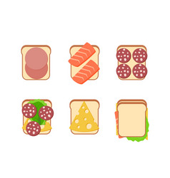 Sandwiches with ingredients vector