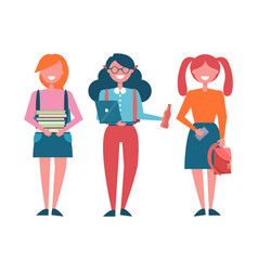 Schoolgirls with backpacks and pile of books set vector