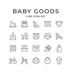 Set line icons of baby goods vector