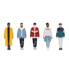 Set of attractive hipster guys dressed in trendy vector