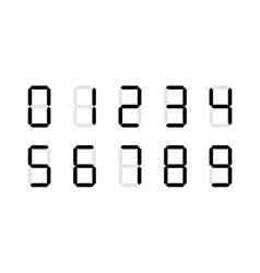 Set of digital number signs made up from seven vector