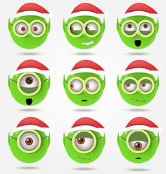 Set of funny green Santas elfs smiles in goggle vector