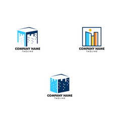 set of square city logo icon vector image