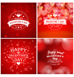 Set of valentines day greeting cards or poster vector