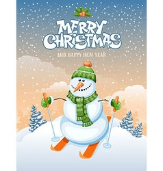 Snowman and ski vector image