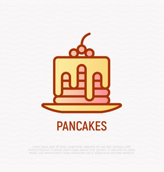 stack of pancakes with syrup and berries line icon vector image