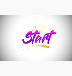 start purple violet word text with handwritten vector image