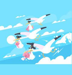 storks carry babies in beaks vector image