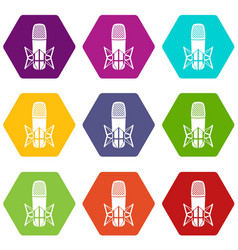 studio microphone icons set 9 vector image