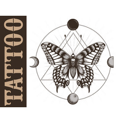 Tattoo studio banner with butterfly geometrymoon vector