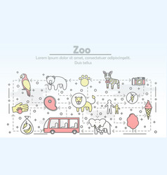 thin line art zoo poster banner template vector image