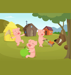 Three little pigs near their small houses and vector