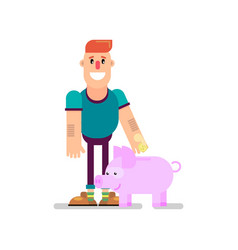 Toss a coin into a piggy bank vector