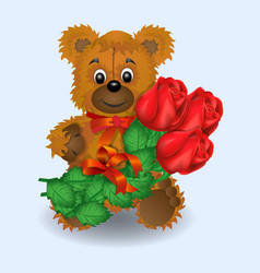 valentines day greeting card bear roses vector image